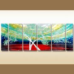 6 Panels Nature Multi Canvas Framed Art #Art #Artwork #Canvas #CanvasArt #Framed #HomeDecor #Landscape #Nature #OilPainting #Painting #Poster #ReadyToHang #Tree