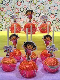 Dora cake pops idea. LOVE @Carla Riesterer-Brunette
