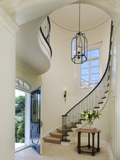 Center Hall.  Entry foyer and stairs. French English country traditional