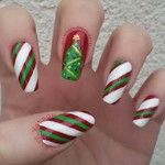 christmas tree and candy cane nail art! #FestiveFingertips