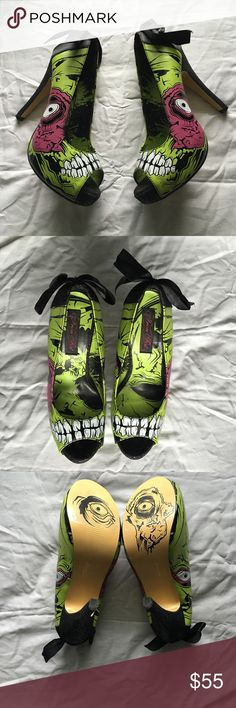 Zombie heels Zombie heels. Rare and hard to find. Only worn once. Size 6 Iron Fist Shoes Platforms
