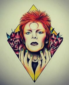 David Bowie by Tattoo Artist Penelope Tentakles (babyparasites.tumblr.com)