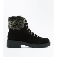 Teens Black Suedette Faux Fur Trim Hiker Boots ($38) ❤ liked on Polyvore featuring shoes, boots, black, black shoes, new look boots, front lace up boots, black laced shoes and round toe boots