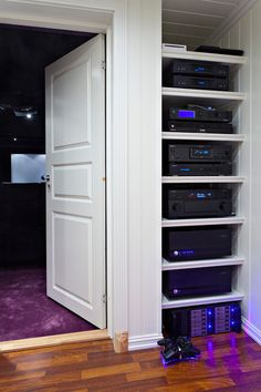 Aktos Purple Home Theater - Home Theater Forum and Systems - Hom . Home Theater Room Design, Home Cinema Room, Home Theater Furniture, Home Theater Setup, Best Home Theater, At Home Movie Theater, Home Theater Speakers, Home Theater Rooms, Home Theater Projectors