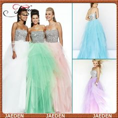 HE138 Scoop Ruffles Tulle Ball Gown Floor Length Empire Metal Bodice White Green Prom Dress 2015 Long Chiffon Custom Made $138.79
