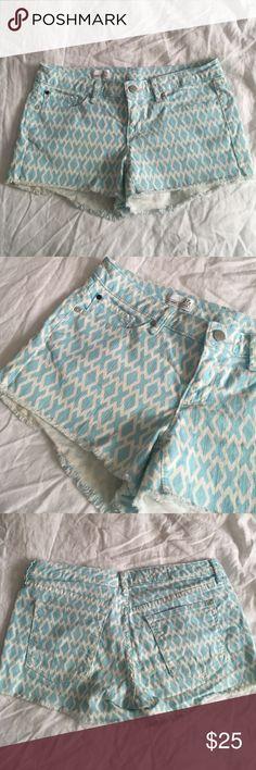 NWOT gap cutoff shorts NWOT, unworn gap cutoff jean shorts. white and aqua colored. size is 27P. bundle and save! Gap Shorts Jean Shorts