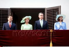 Royal garden party, at the royal palace 'Elisabeta' in Bucharest (Romania). From the left side at the balcony; Prince Nicholas, Crown Princess Margareta, Prince Radu and Princess Maria of Romania. May 12, 2014