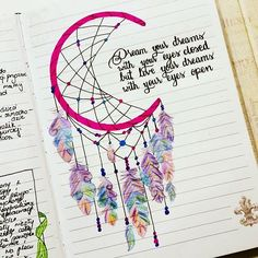 Thinking about creating something more BoHo for your bullet journal? These Dream Catcher Bullet Journal ideas will take it to the next level! Bullet Journal Ideas Pages, My Journal, Bullet Journal Inspiration, Journal Pages, Journal Layout, Dream Journal, Bullet Journal Quotes, Doodles, Drawing Quotes