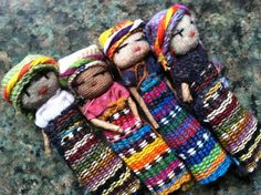 Guatemalan worry dolls.  According to legend, if you tell your worries to one of these dolls before bed and sleep with it under your pillow,...