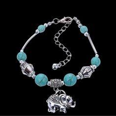 ⭐️New Elephant Bracelet⭐️ New bracelet still in package. Unique design beads turquoise tibetan silver elephant pendant bangle wrist bracelet. ⭐️NEW NEVER USED⭐️ Elephants Jewelry Bracelets
