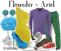 Flounder and Ariel.  That would be so cute for a date but i don't think i could get any guy to dressup like a 'mermaid princess'