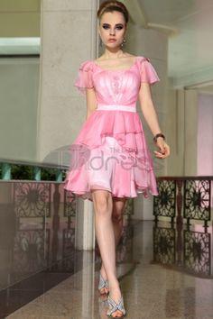 pink ruffle cap sleeve scoop neck short a line chiffon formal dress Chiffon Evening Dresses, Formal Evening Dresses, Formal Gowns, Red Sweet 16 Dresses, Pink Dress, Flower Girl Dresses, Women's Dresses, Chiffon Ruffle, Ruffles