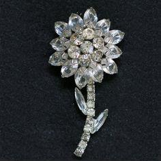 Vintage Rhinestone Silvertone Flower Brooch Unsigned Beauty 3 inches             http://www.rubylane.com/item/494613-aj445-bg3514/Vintage-Rhinestone-Silvertone-Flower-Brooch