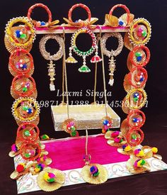 Krishn Jhula Concept Contact us : 9871111388 (call & whats app) Janamashtami Decoration Ideas, Ganpati Decoration Design, Door Hanging Decorations, Diy Birthday Decorations, Diwali Decorations, Festival Decorations, Flower Decorations, Puppet Crafts, Craft Stick Crafts