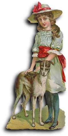 Victorian scrap: Girl with dog | Flickr - Photo Sharing!