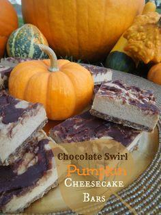 Chocolate Swirl Pumpkin Cheesecake Bars.