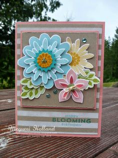 Megumi's Stampin Retreat, Stampin' Up! Flower Patch Stamp Set, Flower Fair Framelits, Dots & Stripes Decorative Mask