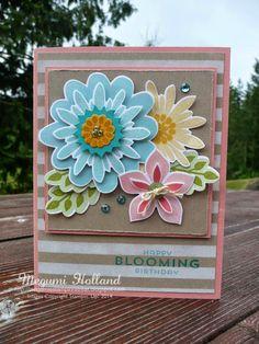 Megumi's Stampin Retreat, Stampin' Up! Flower Patch Stamp Set, Flower Fair Framelits, Dots Stripes Decorative Mask