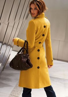 Yellow Plain Pockets Belt Turndown Collar Trench Coat