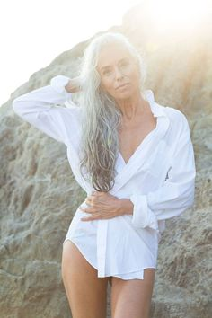 "twsem: ""Stunningly beautiful and so sexy ! Long White Hair, Grey Hair, Shirt Hair Cuts, Yasmina Rossi, Indian Eyes, Diy Beauty Secrets, White Shirt Men, Beauty Tips For Teens, Beauty Ideas"