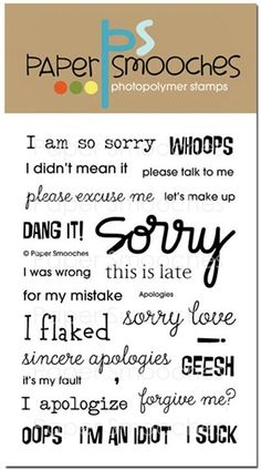 Apologies stamp set by Paper Smooches