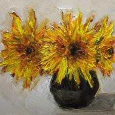 ORIGINAL SUNFLOWERS FLOWER Floral Art original oil by artiparti, $30.00