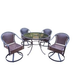 Oakland Living Tuscany Resin Wicker 5-Piece Swivel Patio Dining Set