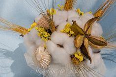 Ramo de Algodones y espigas en amarillos, se pueden realizar en lavandas, rosas, naranjas y marrones o con distintos elementos naturales.Por Siempre Jamás algodondeluna@gmail.com o 606619349