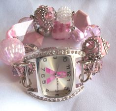 Breast Cancer Beaded Watch Nancy  Chunky by BeadsnTime on Etsy, $30.00