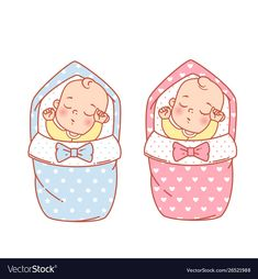 Newborn Sleeping Baby Girl And Boy In Swaddle, Blanket Stock Vector - Illustration of happy, celebrate: 153184935 Cute Little Baby Girl, Little Babies, Kids Sleep, Baby Sleep, Child Sleep, Scrapbook Bebe, Baby Shower Deco, Family Illustration, Baby Drawing