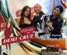 No te pierdas este jueves los invitados especiales que estarán en Al Destape con Demi Cruz, sintoniza la Mega TV y vive de una hora diferente... #HoustonTV #Canal55