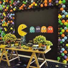 Retro Party Themes Most Popular Ideas Birthday Party Tables, 10th Birthday Parties, Man Birthday, Retro Party Themes, 80s Party Decorations, Festa Do Pac Man, Pac Man Cake, Pac Man Party, Wedding Party Games