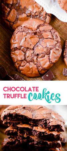 Chocolate Truffle Cookies: Chocolate cookies with a soft fudgy middle, chewy edges, and a crackly brownie-like top. ~ Something Swanky Cookie Desserts, Cookie Recipes, Dessert Recipes, Cookie Ideas, Holiday Desserts, Dessert Ideas, Delicious Desserts, Yummy Food, Tasty