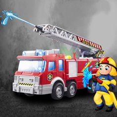 Playmobile Fireman Sam Kids Toy Truck Car With Music Led For Baby Toys Fire Truck Educational Spray Water Gun Toy Free Shipping #>=#>=#>=#>=#> Click on the pin to check out discount price, color, size, shipping, etc. Save and like it!