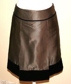 Ann Taylor Gold & Black Silk Blend Velvet Trimmed A-Line Pleated Skirt