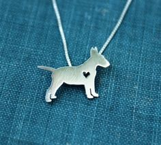 Bull Terrier necklace sterling silver hand cut par justplainsimple, $40.00