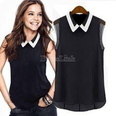 Celeb Style féminines épissage couleur Slim équipée été mousseline de soie chemise douce Tops Blouse S/M/L/XL