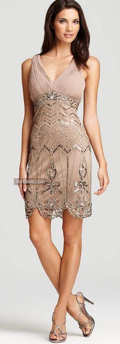 Sue Wong Beaded Dress - Sleeveless V Neck
