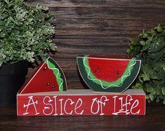 Sweet & Juicy Watermelon Wood Block Set Summer by