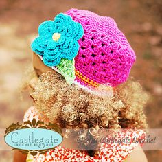 4 Layer Flower Beanie with Leaves - Bright Pink, Bright Orange, White, Turquoise, Bright Yellow, Bright Lime.