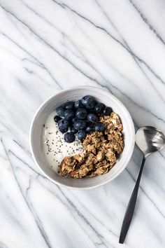 This Granola Yogurt Breakfast Bowl features an easy homemade granola that can be prepared in advanced for weeks worth of quick, healthy breakfasts.