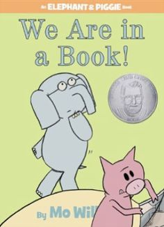 We are in a Book! by Mo Willems.   Gerald and Piggie learn the joy of being read and as such, teach kids the joy of reading. This is a hilarious, well-written tale that gets kids interacting and kids AND parents laughing out loud!  SBN: 1423133080 Publisher: Hyperion Book CH