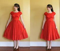 1950s Red Chiffon Party Dress