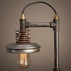 Iron Pipe Lamp with Wood Base by BlinkLab on Etsy
