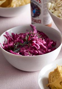 a recipe for a super food from O. grated beet, sour cream, pepper, horse radish, fresh dill, or chives. beet dip for potato chips or side for steak!