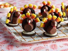 Thanksgiving Turkeys : Giada's sweet mini turkeys are easy enough for kids to assemble and will make an adorable addition to any Thanksgiving dessert spread.