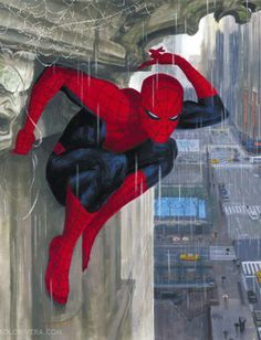 """Spider-Man by Paolo Rivera. He looks like he's thinking, """"Dangit, I can't believe I left my umbrella at home."""""""