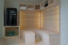 Saunan eteinen. Ihana Smeg <3 Dressing Room, Blinds, Sweet Home, Home Appliances, Curtains, Saunas, Home Decor, Cube, Basement