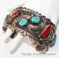 Vintage Signed Native American Sterling Turquoise Coral Cuff Bracelet 88 Grams