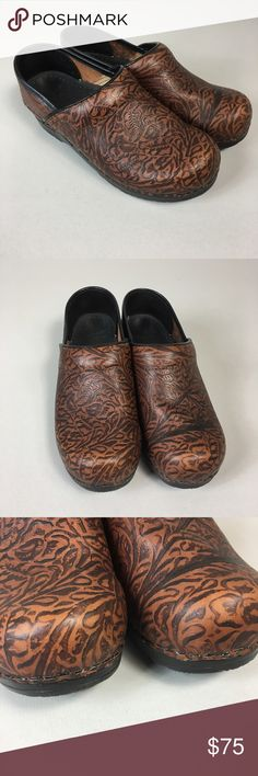 Dansko professional tooled brown patent leather These clogs are pre owned but pretty much new. Size 37 (6.5-7). Dansko Shoes Mules & Clogs
